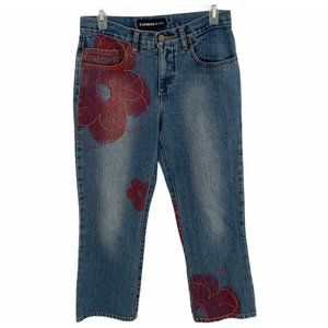 Express Floral Jeans Giant Pink Flower Hippie Jean